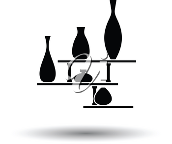 Wall bookshelf icon. White background with shadow design. Vector illustration.