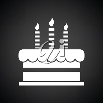Party cake icon. Black background with white. Vector illustration.
