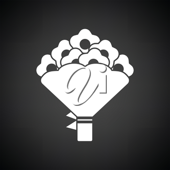 Flowers bouquet icon with tied bow. Black background with white. Vector illustration.