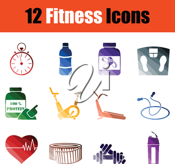 Set of Fitness icons. Gradient color design. Vector illustration.
