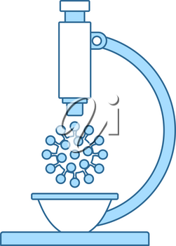 Research Coronavirus By Microscope Icon. Thin Line With Blue Fill Design. Vector Illustration.