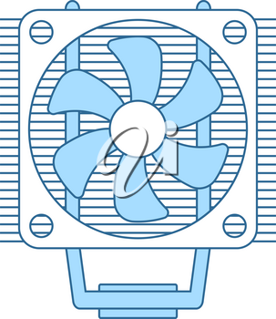 CPU Fan Icon. Thin Line With Blue Fill Design. Vector Illustration.