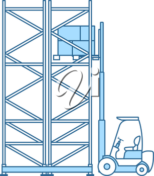 Warehouse Forklift Icon. Thin Line With Blue Fill Design. Vector Illustration.