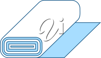 Tailor Cloth Roll Icon. Thin Line With Blue Fill Design. Vector Illustration.