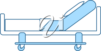 Hospital Bed Icon. Thin Line With Blue Fill Design. Vector Illustration.
