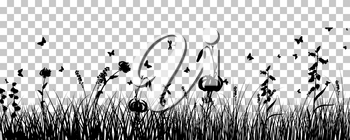 Meadow Background With Butterflies. Transparency Grid Design. Vector Illustration.