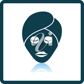 Woman Head With Moisturizing Mask Icon. Square Shadow Reflection Design. Vector Illustration.