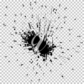 Musical notes flying from grunge blob. EPS 8 Vector illustration.
