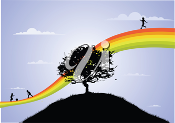 Royalty Free Clipart Image of Children Playing on a Rainbow