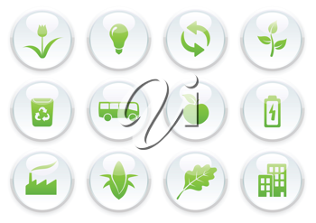 Royalty Free Clipart Image of Green Environmental Icons