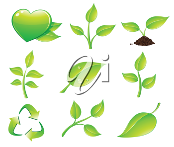 Royalty Free Clipart Image of Ecology Icons