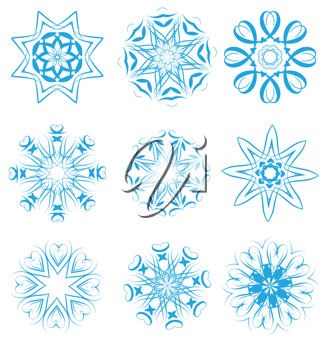 Royalty Free Clipart Image of Snowflake Designs