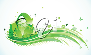 Royalty Free Clipart Image of a World Recycling Background