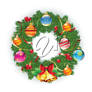 Royalty Free Clipart Image of a Christmas Wreath