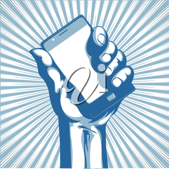 Royalty Free Clipart Image of a Hand Holding a Cellphone
