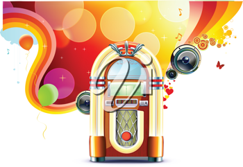 Royalty Free Clipart Image of a Jukebox Background