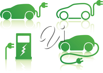 Royalty Free Clipart Image of Electric Car Icons