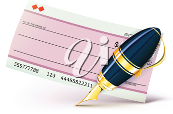 Royalty Free Clipart Image of a Cheque and Pen