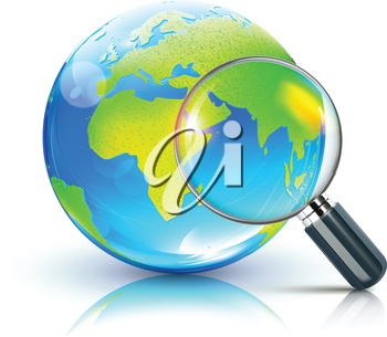 Royalty Free Clipart Image of a Magnifying Glass Over Earth