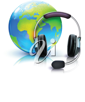 Royalty Free Clipart Image of a Headset and World