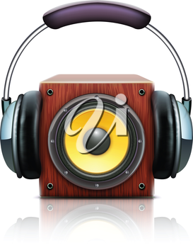 Royalty Free Clipart Image of a Speaker and Headphones