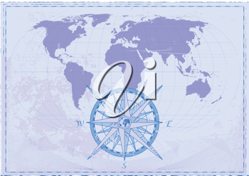 Royalty Free Clipart Image of a Vintage World Map