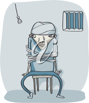 Royalty Free Clipart Image of a Man Tied to a Chair