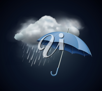 Vector illustration of cool single weather icon - elegant opened umbrella and cloud with heavy fall rain in the dark sky