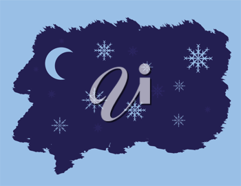 Royalty Free Clipart Image of a Night Moon and Snowflakes