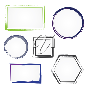 Royalty Free Clipart Image of a Set of Painted Frames