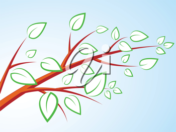 Royalty Free Clipart Image of a Tree with Leaves