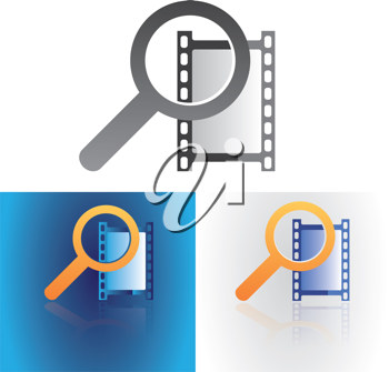 Film frame with magnifier glass symbol as web search media metaphor vector illustration.
