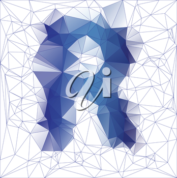 Abstract Frozen letter R low poly design gradient EPS10 vector illustration.