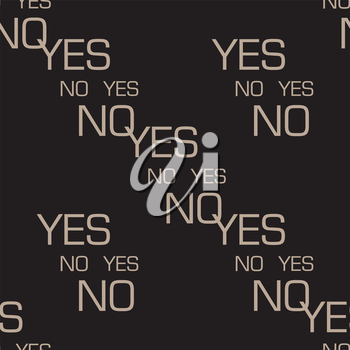 words yes and no choice concept seamless pattern dark color background vector design