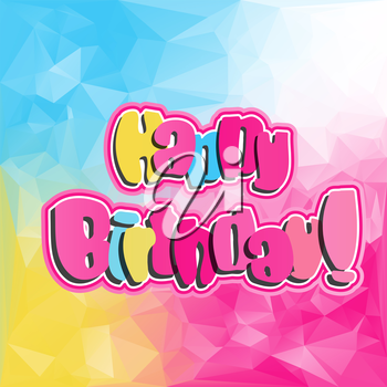 Bright postive color background with Happy Birthday quote festive card template