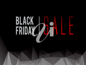 Black Friday sale text on dark low polygonal background vector illustration