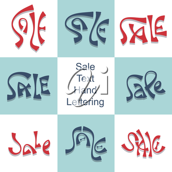 Text Sale hand lettering set discount price promo text for seasonal clearance advertising vector illustration