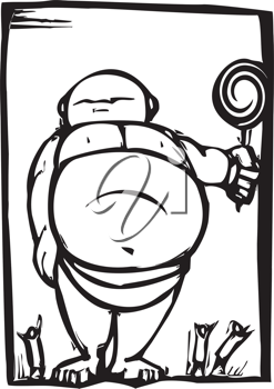 Royalty Free Clipart Image of a Fat Baby Holding a Lollipop