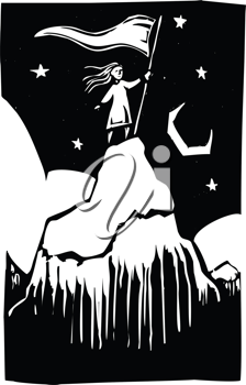 Royalty Free Clipart Image of a Girl on the Top of a Mountain