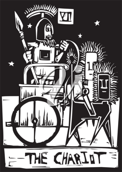 Royalty Free Clipart Image of a Tarot Card of the Chariot