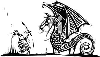 Royalty Free Clipart Image of a Knight Fighting a Dragon