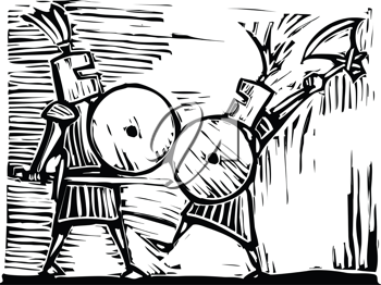 Royalty Free Clipart Image of Two Knights Fighting