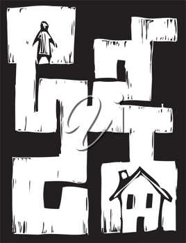 Royalty Free Clipart Image of a Man and a House in a Maze