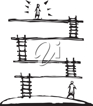 Royalty Free Clipart Image of People and Ladders