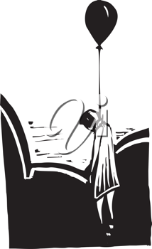 Royalty Free Clipart Image of a Body Hanging by a Balloon