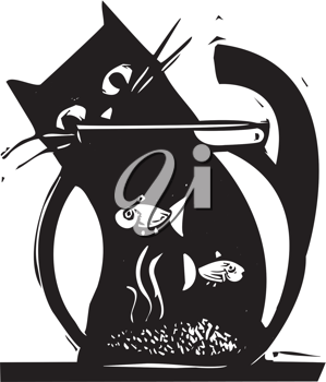 Royalty Free Clipart Image of a Cat Watching a Fish Bowl