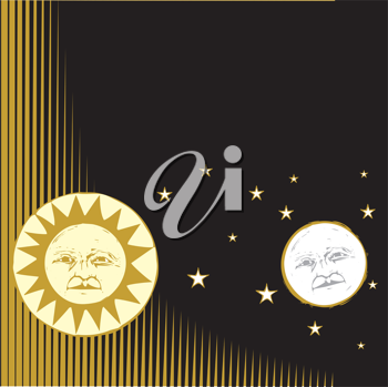 Royalty Free Clipart Image of the Sun and Moon in the Sky
