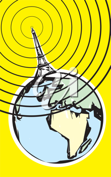 Royalty Free Clipart Image of Radio Tower Broadcasting Signals from the Earth