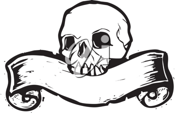 Royalty Free Clipart Image of a Skull With a Scroll