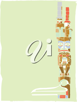 Royalty Free Clipart Image of a Totem Pole